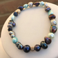 Blue and grey pearl stretchy bracelet