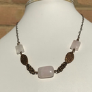 Antique bronze colour rose quartz necklace