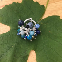 Silver plated blue gemstone mix adjustable ring