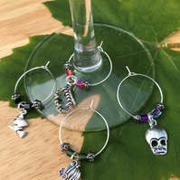 Halloween theme wine glass charms
