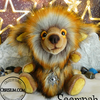 Artist mohair and plush creature: Soompah the Atom Puff