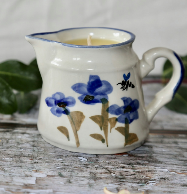 Vintage hand thrown 1980s jug with flower and bees aromatherapy candle