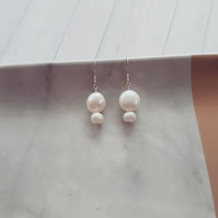 Double Freshwater Pearl Earrings. Cleo Earrings.