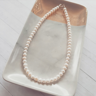 Freshwater Pearl Classic Necklace. Sky Necklace.