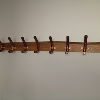 Custom Natural edge oak and copper coat rack