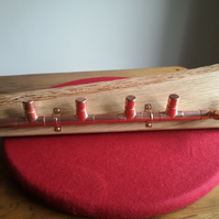 Natural edge oak and copper coat rack
