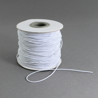 1mm Wide White Round Hat Elastic x 5 Metre cut length supplied on card bobbin