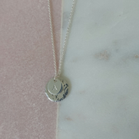 Sterling silver inital double disc pendant