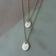 Layered double inital disc necklace