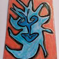 Aceo, abstract, naive