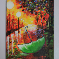 Autumn acrylic painting on canvas.Stretched canvas.Green umbrella painting.12x9