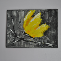 Butterfly acrylic painting on canvas. Abstract yellow Butterfly painting