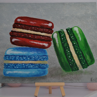 Macarons acrylic painting on canvas board. With mini easel.Hand-painted