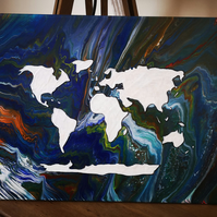 World map abstract painting