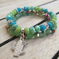 Elasticated Bracelet Stack - Green Mix Cactus & Flower - Set of Two