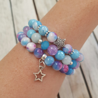 Elasticated Bracelet Stack - Star Tie Dye Jade & Mixed Beads - Set of Three