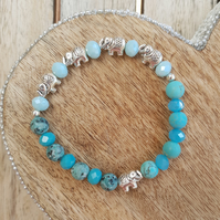 Elasticated Bracelet - Elephant Detail Agate & Semi Precious Stone Mixed Beads