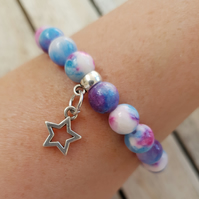 Elasticated Bracelet - Tie Dye Jade with Star Charm