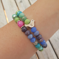 Elasticated Bracelet Stack - Bird & Flower Multi Coloured Mix - Set of Two
