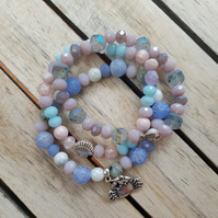 Elasticated Bracelet Stack - Beach Theme Mixed Bead Bracelets - Set of Three