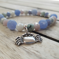 Elasticated Bracelet - Agate & Mixed Bead Bracelet With Crab Charm