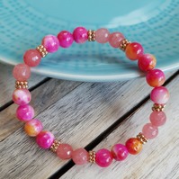 Elasticated Bracelet - Jade & Natural Stone - Tie Dye Tropical Rose Gold