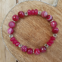 Elasticated Bracelet - Striped Agate & Natural Stone - Fuchsia Floral