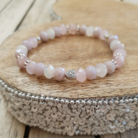 Elasticated Bracelet - Pink Swarovski Crystal Mixed Bead with Heart Detail
