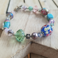 Beaded Bracelet - Pastel Rainbow Floral Lampwork Mix With Decorative Clasp