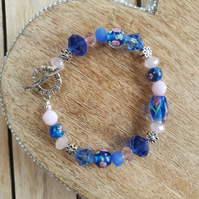 Beaded Bracelet - Blue & Pink Floral Lampwork Mix With Decorative Toggle Clasp