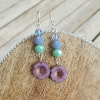 Purple Pastel Mix Czech Glass Flower Dangle Earrings
