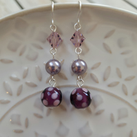 Purple Ceramic Spot Triple Stone Dangle Earrings With Swarovski Pearl