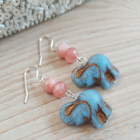 Elephant Czech Glass & Semi Precious Stone Earrings - Pearlescent Blue & Pink