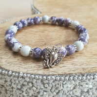 Elasticated Bracelet - Purple Watercolour Splash Jade With Elephant Charm