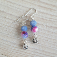 Tie Dye Floral Sparkle Semi Precious Dangle Earrings - Purple Mix
