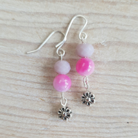 Tie Dye Floral Sparkle Semi Precious Dangle Earrings - Pink Mix