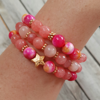 Elasticated Bracelet Stack - Star Tie Dye Tropical & Gold Mix - Set of Three