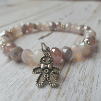 Elasticated Bracelet - Gingerbread Man Taupe Mix