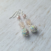 Pink Opal Mix Pave Encrusted Rhinestone Triple Dangle Earrings