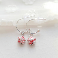 Red Stripey Daisy Half Hoop Earrings