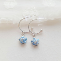 Blue Stripey Daisy Half Hoop Earrings