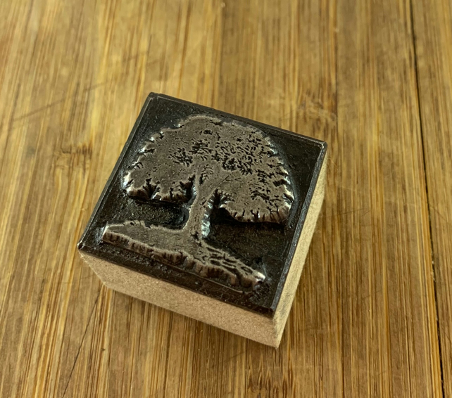 Oak Tree Printing Stamp   Ink Block.  Wax Seal. (Hand Made)