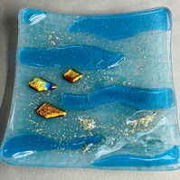 Fused glass seascape dish