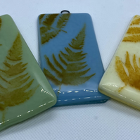 Fused glass screen printed small hanging decoration