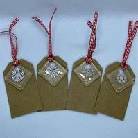 Fused glass keepsake snowflake Christmas tag