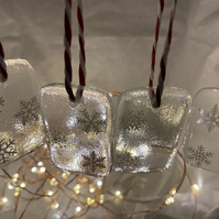 Fused glass snowflake decorations