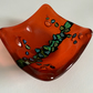 Fused glass orange trinket dish