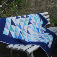 Blue Triangles Patchwork Quilt