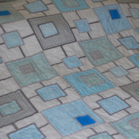 Turquoise and Grey Large Handmade Patchwork Bed Quilt - Connected