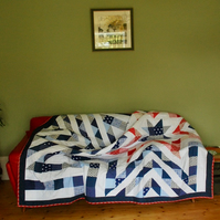 Patchwork Quilt - Red, White and Blue, Stars and Stripes
